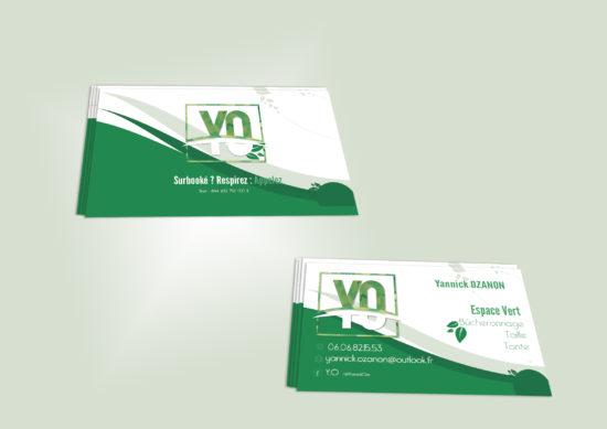 création de carte de visites pour Y.O Espaces Verts